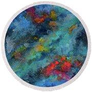 Title. Galactic Adagio Acrylic Painting. Round Beach Towel