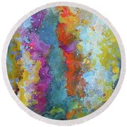 Title. Symphonic Nebula. Abstract Painting. Round Beach Towel