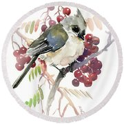 Titmouse And Berries Round Beach Towel