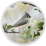 Round Beach Towel featuring the mixed media Titmouse In Blossoms 1 by Lori Deiter