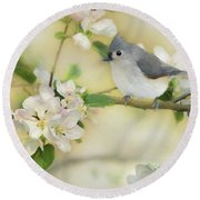 Round Beach Towel featuring the mixed media Titmouse In Blossoms 2 by Lori Deiter