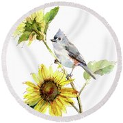 Titmouse With Sunflower Round Beach Towel