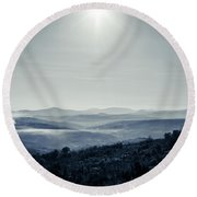 To A Peaceful Valley Round Beach Towel