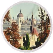To Budapest With Love Round Beach Towel