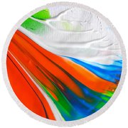 Round Beach Towel featuring the painting To Da Sea by Fred Wilson