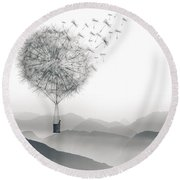 To Fly Only For A Moment Round Beach Towel