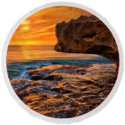 To God Be The Glory - Sunrise Over Ocean Reef Park On Singer Island Florida Round Beach Towel