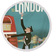 To London By Red Bus, Vintage Travel Poster Round Beach Towel