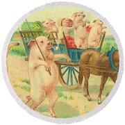 To Market To Market To Buy A Fat Pig 86 - Painting Round Beach Towel