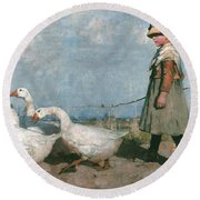 To Pastures New Round Beach Towel