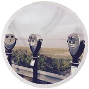 To See The Sea Round Beach Towel by Beth Saffer