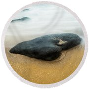 Round Beach Towel featuring the photograph To Stay Between by Parker Cunningham