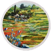 To The Country Born Round Beach Towel
