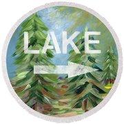 To The Lake - Art By Linda Woods Round Beach Towel