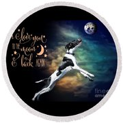 Round Beach Towel featuring the digital art To The Moon by Kathy Tarochione
