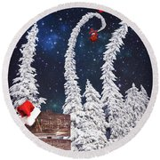 To The North Pole Round Beach Towel