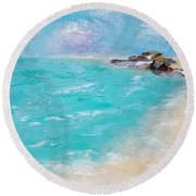 Round Beach Towel featuring the painting To The Rocks by Judith Rhue