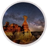 Toadstool Milky Way Round Beach Towel