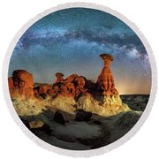 Toadstool Milky Way Pano Round Beach Towel