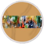 Round Beach Towel featuring the painting Toasting Crowd by Lisa Kaiser