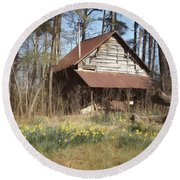 Round Beach Towel featuring the photograph Tobacco Barn In Spring by Benanne Stiens