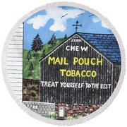 Round Beach Towel featuring the painting Pennsylvania Tobacco Barn by Jeffrey Koss