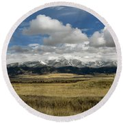 Tobacco Root Mountains Round Beach Towel