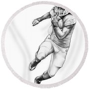 Todd Gurley Round Beach Towel by Greg Joens