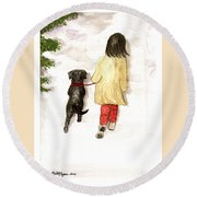 Together - Black Labrador And Woman Walking Round Beach Towel