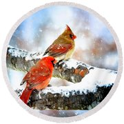 Together In The Snow Round Beach Towel by Nava Thompson