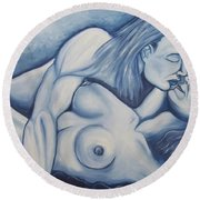Round Beach Towel featuring the painting Together by Michael  TMAD Finney