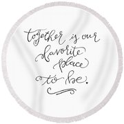 Round Beach Towel featuring the drawing Together by Nancy Ingersoll
