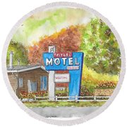 Toiyabe Motel In Walker, California Round Beach Towel by Carlos G Groppa