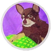 Token Date With Paint Mar 19 Round Beach Towel