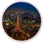 Round Beach Towel featuring the photograph Tokyo At Night by Dan Wells