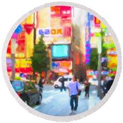 Round Beach Towel featuring the painting Tokyo by Chris Armytage