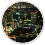 Tokyo Cityscape And Bay Area Round Beach Towel