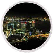 Tokyo Cityscape And Odaiba Skyline Round Beach Towel
