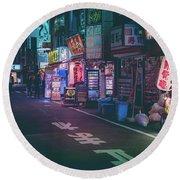 Tokyo Side Streets, Japan Round Beach Towel