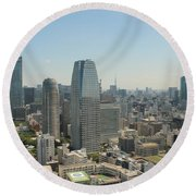 Tokyo Skyline Round Beach Towel
