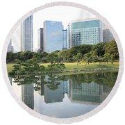 Tokyo Skyline Reflection Round Beach Towel by Carol Groenen