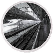 Tokyo To Kyoto, Bullet Train, Japan Round Beach Towel