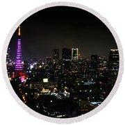 Tokyo Tower Cityscape Round Beach Towel
