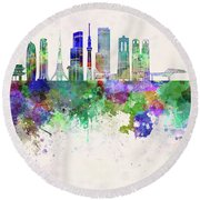 Tokyo V3 Skyline In Watercolor Background Round Beach Towel by Pablo Romero