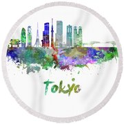 Tokyo V3 Skyline In Watercolor Round Beach Towel