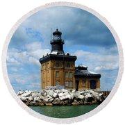 Toledo Harbor Lighthouse Round Beach Towel