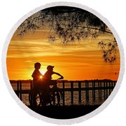 Round Beach Towel featuring the photograph Tom And Huck by HH Photography of Florida