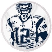 Tom Brady New England Patriots Pixel Art 6 Round Beach Towel by Joe Hamilton