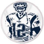 Tom Brady New England Patriots Pixel Art 6 Round Beach Towel