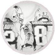 Round Beach Towel featuring the drawing Tom Brady Rob Gronkowski Sketch by Dan Sproul
